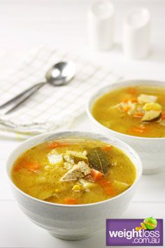 Healthy Soup Recipes: Chicken and Brown Rice Soup. #HealthyRecipes #DietRecipes #WeightLoss #WeightlossRecipes weightloss.com.au