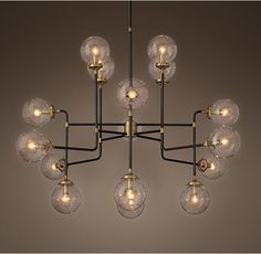 Bistro Globe Clear Glass 16-Light Chandelier--for entryway!