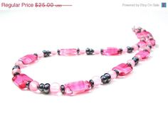 ON SALE Swirly pink and white Czech glass by sparklecityjewelry