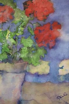 Geraniums - may have to try my hand at painting a picture like this! Watercolor Landscape, Watercolor Flowers, Watercolor Paintings, Watercolours, Red Geraniums, Water Pictures, Beauty Art, Flower Art, Canvases