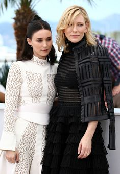 Rooney Mara and Cate Blanchett in Alexander McQueen - Cannes Film Festival photocall for 'Carol'  in Cannes, France (17-5-15) Sunday