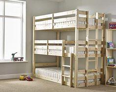 Derby 3 Tier Triple Sleeper Bunk Bed Just Kids Size: Small Single Triple Sleeper Bunk Bed, Futon Bunk Bed, Bunk Bed Plans, Triple Bunk Beds Plans, High Sleeper, Bunk Beds With Stairs, Cool Bunk Beds, Kids Bunk Beds, Custom Bunk Beds