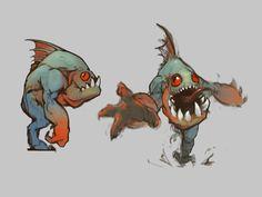 Murloc by Park Se-Kwang on ArtStation. Monster Concept Art, Fantasy Monster, Monster Art, Fantasy Character Design, Character Concept, Character Inspiration, Character Art, Creature Concept Art, Creature Design