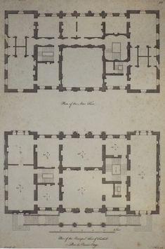 Plan of the Attic Floor. Plan of the Principal Floor of Fonthill. Plan du Premier Etage.
