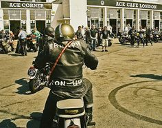 Ton Up Rockers at the Ace cafe London. Visited a few years back, the meeting place for rocker bikers in London.