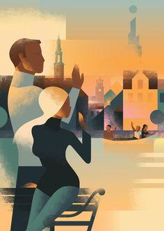 Esdr - annual meeting poster on behance art deco fashion, berg illustration, travel Art And Illustration, Illustrations Posters, Poster Retro, Posters Vintage, Art Deco Posters, Book Posters, Art Deco Stil, Modern Art Deco, Retro Kunst