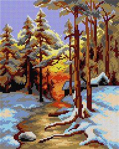 Winter Landscape Tapestry Canvas | sewandso