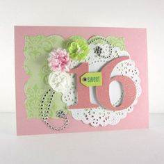 Sweet 16th birthday card, sweet 16, handmade, embossed card, pink and green