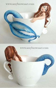 FIGURINES - Coffee and Tea Fairies - Amy Brown Fairy Art - The Official Gallery♡ I need this one for my collection. Real Mermaids, Mermaids And Mermen, Amy Brown Fairies, Merfolk, Mermaid Art, Mermaid Mugs, Mermaid Ring, Fairy Art, The Little Mermaid