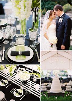 black and white and kelly green @Martha Stewart Weddings Magazine.  Love black n white !!!!