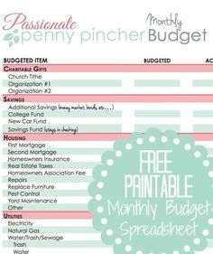 Free Printable Budget Spreadsheet - columns to track actual spending versus budgeted spending each month. Help keep your finances organized in 2015. Download this free printable and take control of your money!