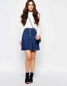 Image 1 of Only Button Front Denim A Line Skirt