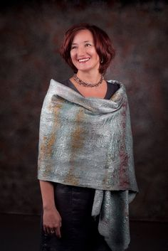 Felted Wool Blue Steel Waves Shawl by elenasfelting on Etsy, $160.00
