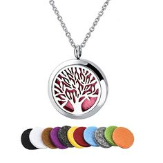 "Tree of Life 316L Stainless Steel Essential Oil Diffuser Necklace Pendant Jewelry 22.8"" Chain"