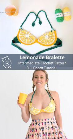 Lemonade — The Queen Stitch Crochet Bra, Crochet Bikini Pattern, Crochet Woman, Love Crochet, Crochet Clothes, Diy Clothes, Swimsuit Pattern, Crochet Designs, Crochet Patterns