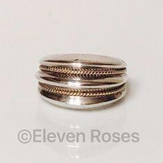 Vintage Tiffany Milgrain Dome Ring Sterling 14k Vintage Tiffany & Co. Ring  -  925 Sterling Silver w/ 14k Yellow Gold  Milgrain / Rope Design  -  Hallmarked; Tiff & Co Str 14k  -  US Size 6 Tiffany & Co. Jewelry Rings