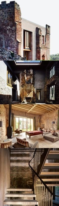 A Contemporary House Inserted Behind The Crumbling Walls Of Astley Castle In Warwickshire, England