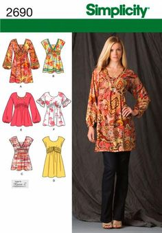 Pictures of  Simplicity Tunic Mini Dress Sewing Pattern Peasant Blouse Poets Top 2690 16-24