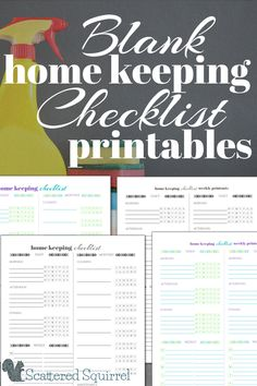Home Keeping Checklist printables are a great way to stay on top of those housekeeping tasks that you need to do on a routine basis. Use them as a cleaning checklist or a general to-do checklist for around the house.
