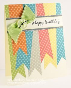 "Use colorful paper to make ""ribbons"" for this cute handmade birthday card - and one real ribbon!"