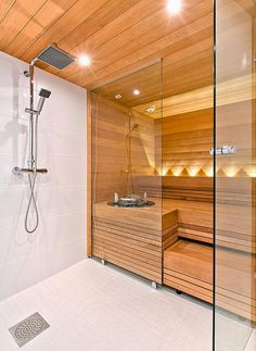 38 Easy And Cheap Diy Sauna Design You Can Try At Home. he prospect of building a sauna in the home may initially sound daunting, but in fact it is a relatively simple project . Saunas, Diy Sauna, Sauna Ideas, Sauna Steam Room, Sauna Room, Home Steam Room, Small Bathroom With Shower, Bathroom Spa, Bathroom Ideas