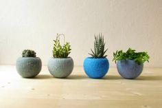 Free Shipping - Felt succulent planter / felted bowl / Succulent pod / Blue felt vases / home decor / Set of 4