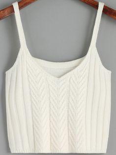 White Spaghetti Strap Sweater Cami.     -SheIn