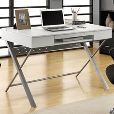 "omg I am obsessed with for our home office space: White Hollow-core ""Connect - It"" 48""L Tablet Desk. The Connect-IT tablet desk allows you to interface all your digital hand held equipment with your computer laptop simply and stylishly"