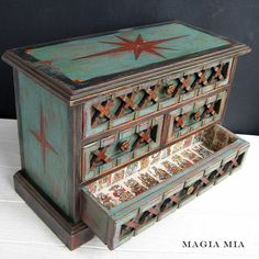 Magia Mia: A Chalk Painted Junking Gypsy's Tarot Loving Dream...red, turquoise, gold, and black chalk paint layers and designs on vintage wooden jewelry box