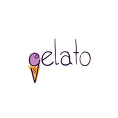 Gelato Logo   Combined a gelato scoop with the company's name to highlight their product.   Logo, Graphic Design, Ice Cream, Italian, Gelato, Parlor, Cafe, Typography, Cute, Whimsical, Sweet, Food, Restaurant