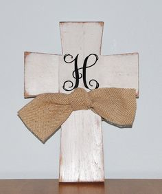 Custom Boutique Handmade Painted Personalized Monogrammed Wooden Cross with Burlap Ribbon Bow & Initial Monogram on Etsy, $20.00