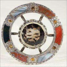 Antique Victorian Scottish Target Brooch with 20 carat Citrine Gem