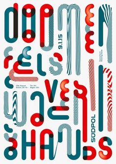 """Doomenfels - Wavering Hands"", - Lo-Fi Music by 'Südpol-Plakate': Club Koncert, Südpol - GraphicArt by ""Feixen"" Studio Design (Switzerland) of Felix Pfäffli (b. Swiss), Size: 42 x 30 cm. Logo Inspiration, Inspiration Typographie, Illustration Design Graphique, Art Graphique, Graphisches Design, Print Design, Studio Design, Atelier Theme, Creative Typography Design"