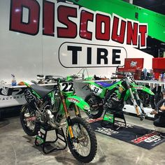 Chad Reed & Josh Grant  #ATL2 #Supercross Kawasaki Dirt Bikes, Discount Tires, Motocross, Bicycle, Motorcycle, Green, Bicycle Kick, Dirt Biking, Bike