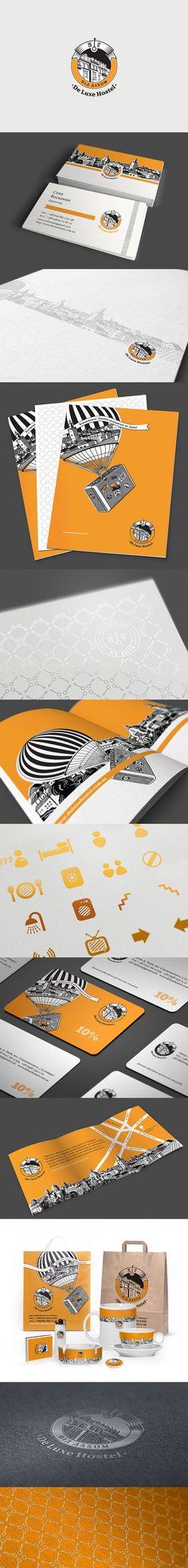 Branding of the De Luxe Hostel. Pretty, right?  | Hostel Branding | Hostel advertising | Hostel Visual Identity | Illustrative brand | Creative Advertising | Menu Inspiration | Illustration | Hostel Graphic Design | Ideas Logo | Hospitality Branding | Brand Design | Creative Hostel | Hostel Logo | Hospitality logo | Hotel Logo | Hotel Design | Hotel Branding