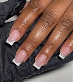 French Tip Acrylic Nails, Short Square Acrylic Nails, Drip Nails, Acrylic Nails Coffin Short, Simple Acrylic Nails, French Tip Toes, Acrylic Toes, French Acrylics, Short Acrylics