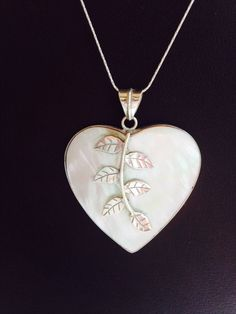 Tell her you love her and keep her close to your Heart. Mother of Pearl Heart Shaped Pendant with Silver by balijewels, $35.00