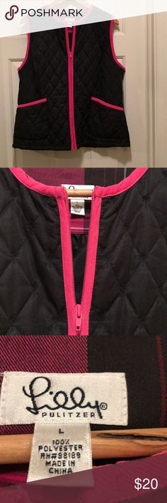 Lilly Pulitzer vest size large Lightweight Lilly vest size large - black trimmed in pink  Pre loved  Excellent condition ! Lilly Pulitzer Jackets & Coats Vests