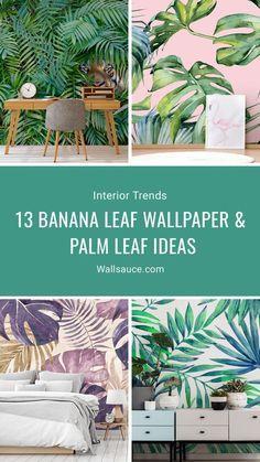 13 Banana Leaf Wallpaper and Palm Leaf Ideas Palm Leaf Wallpaper, Tropical Wallpaper, Green Wallpaper, Wallpaper Jungle, Bedroom Wallpaper, Photo Wallpaper, Home Garden Design, House Design, Jungle Living Room Decor
