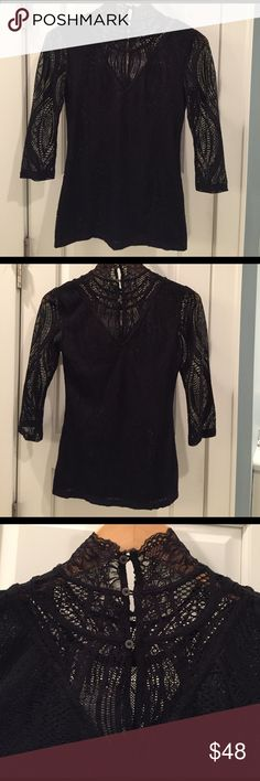 Free People beautiful lace top sz S NWT Free People 3/4 sleeve lace turtleneck top.  Delicate button closure in back.  NWT. Free People Tops