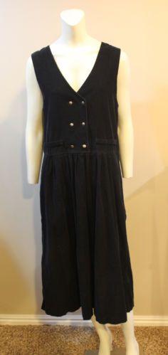 $49.95 Eddie Bauer Dress Navy Blue Corduroy Maxi Jumper Christmas Holiday Small Petite | eBay