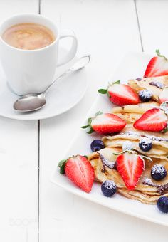 Pic: Pancakes with strawberries  blueberries