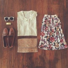 non-granny longish (I'd love just-above-the-knee) floral skirt! I like the texture of the blouse but peter pan collars remind me of my kindergarten school uniform. I NEED those shoes!