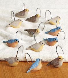 Birds and Blooms Curtain Hooks....must have for the shower curtain!!!!!