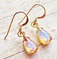 Vintage Petite Glass Opal Earrings  14K Gold by hangingbyathread1, $18.00