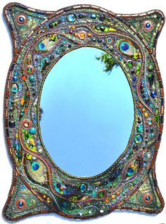 Mosaic peacock mirror - Real peacock feather inlays, a very unusual individual piece