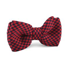 Red with Navy Blue Checkered Knitted Bow Tie |   Men's Suit Knitted Bow Tie for Men | Mens Wedding Knit Bow Tie Normal Knits Bow Tie Width Handmade Gentlemen Accessories for Guys | Buy Knitted Bow Tie Online Shop Australia | Knitted Bow Tie Men's Fashions | OTAA