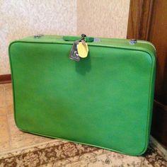 Large Vintage Green Sears Overnight Travel Bag with Adjustable Shoulder Strap