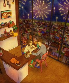puuung-love-is-illustration-art-book-cosmic-orgasm-lovers-daily-life-small-things-dinner-fireworks