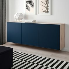 IKEA BESTA Walnut Effect Light Gray, Notviken Blue Wall-mounted cabinet combination Floating Cabinets, Ikea Cabinets, Soft Closing Hinges, Frame Shelf, Buffet Cabinet, Interior Accessories, Adjustable Shelving, Diy Furniture, Furniture Stores